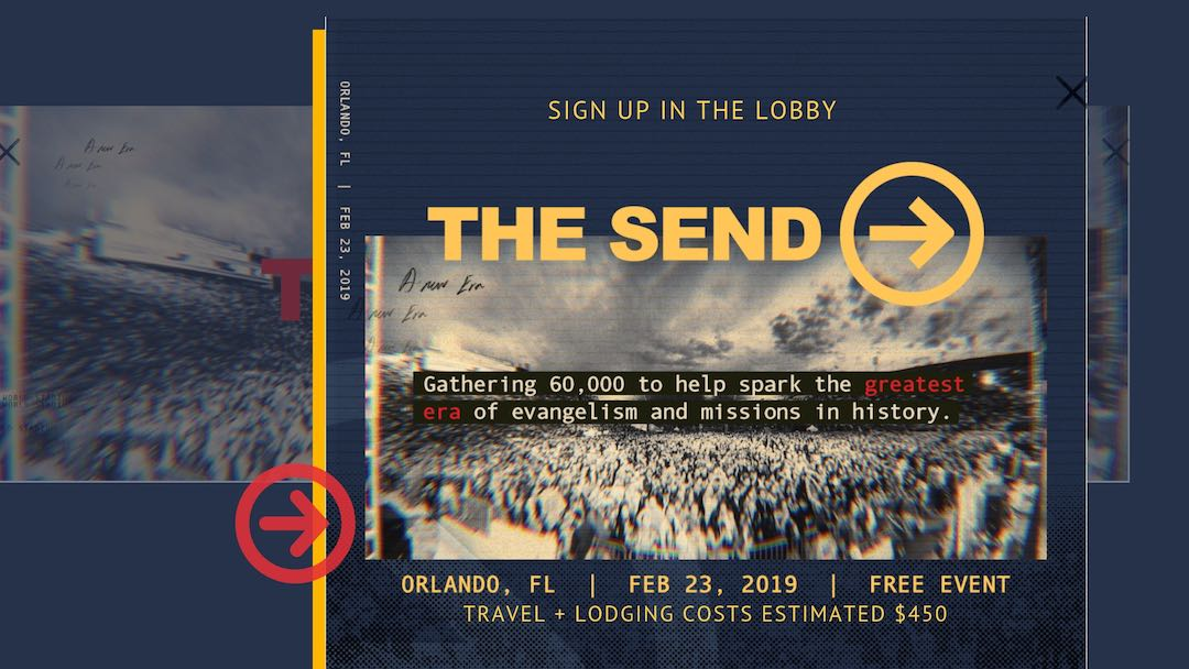 "Collage graphic with large groups of people, text over top of image saying ""The Send"""